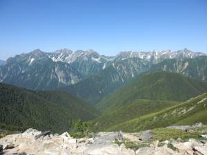 常念岳からの槍穂のパノラマ